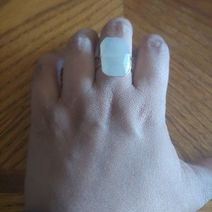 Rectangular Stone Ring- White Agate